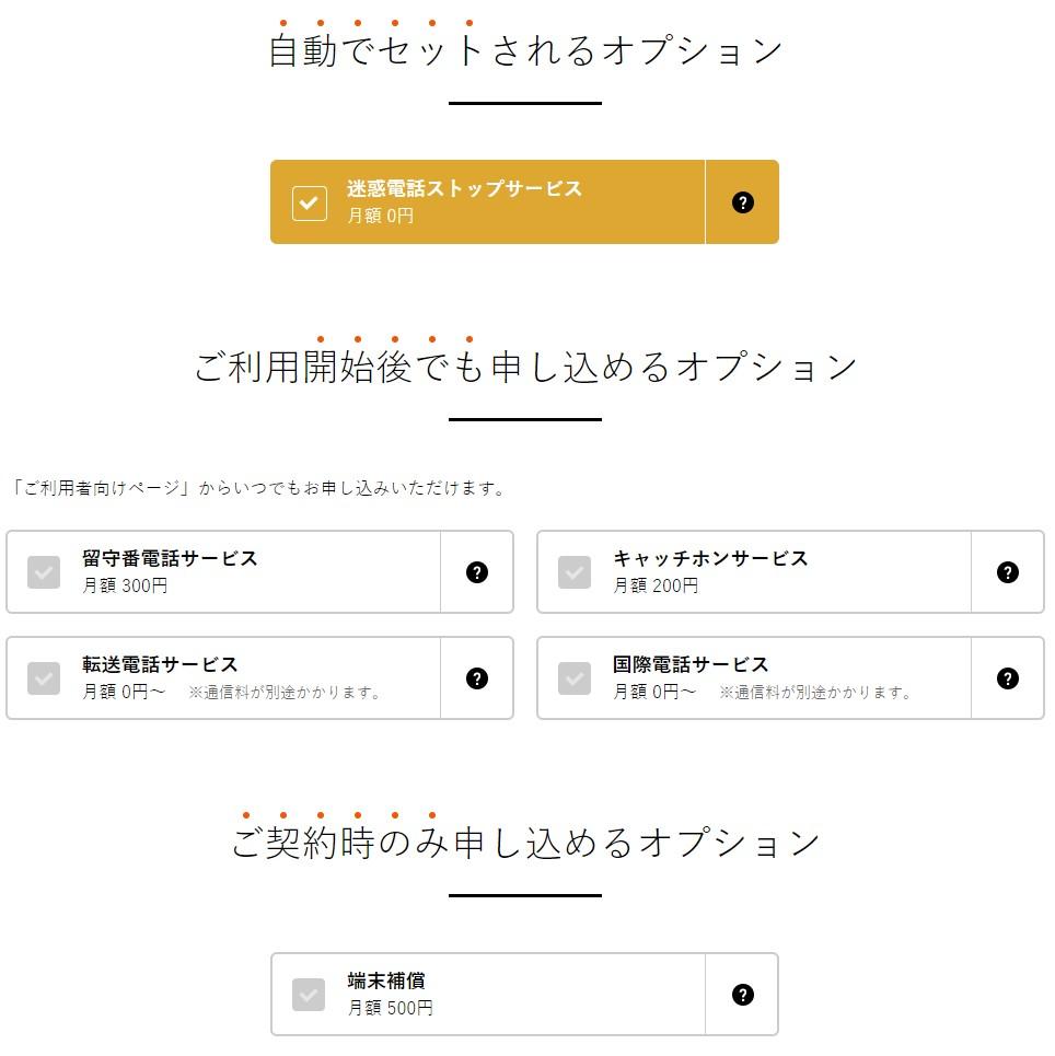 nuroモバイル自動でセットされるオプション