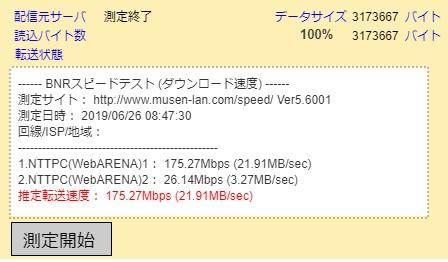 BNRスピードテストでeo光10G(ギガ)コース速度テスト