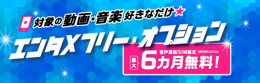 biglobeモバイルエンタメフリー・オプション最大6ヶ月無料