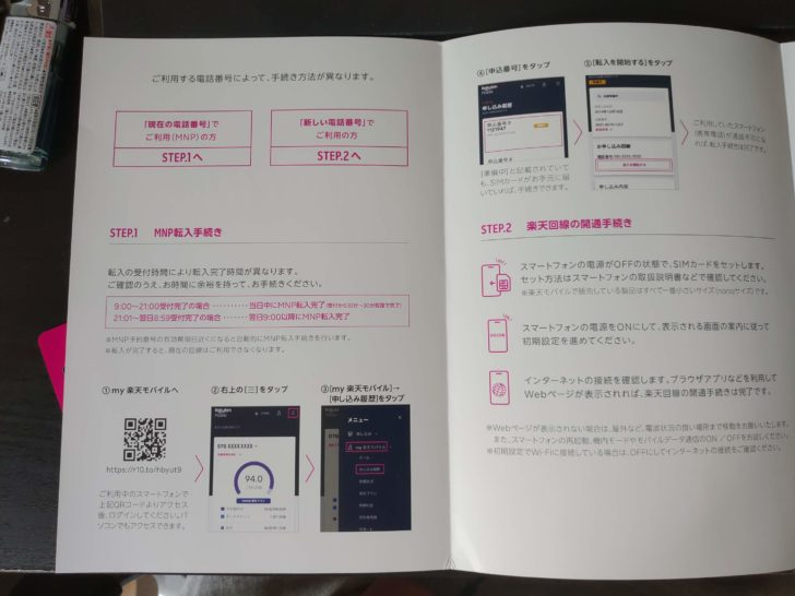 楽天モバイルスタートガイド1~2ページ