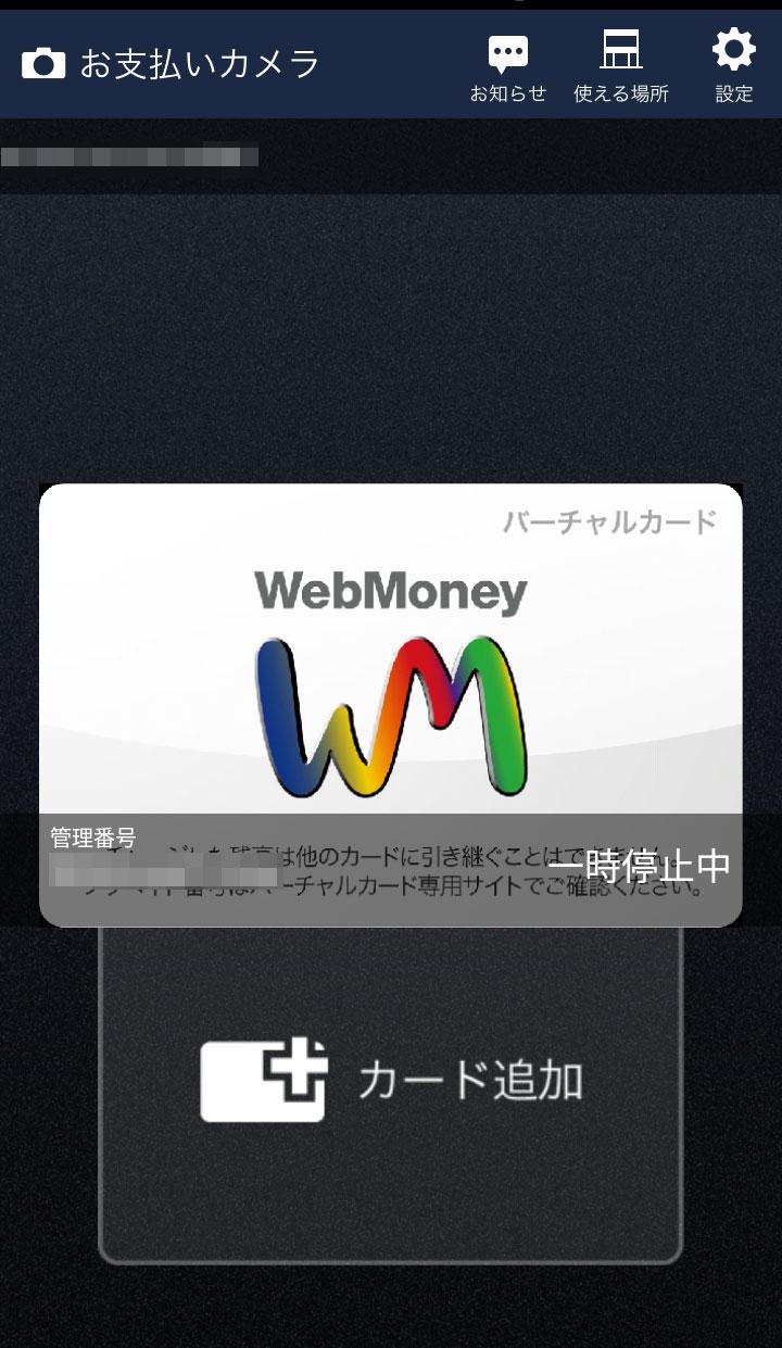 WebMoneyカードケース初期画面