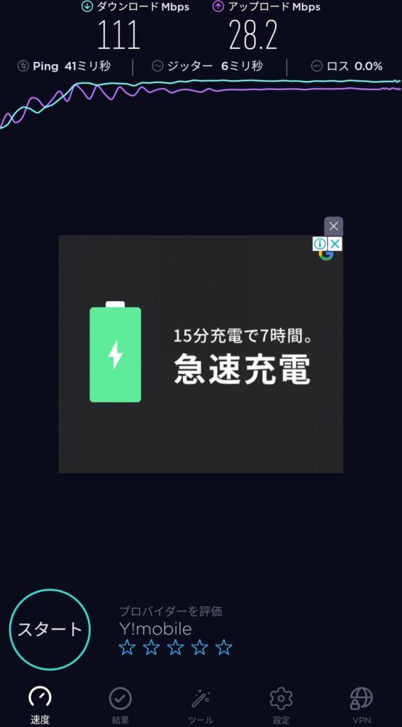 伊賀上野インターでワイモバイルの通信速度測定結果